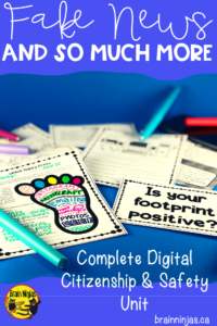 Grab an entire unit that is ready to print and use to teach digital safety and citizenship in your upper elementary classroom. Help your students be safe and responsible online. #digitalliteracy #digitalcitizenship #onlinesafety