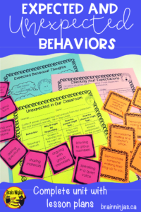 Get this great unit you can use to set expectations instead of rules in your classroom. It works with any age and requires NO PREP! Just print and teach! #classroommangement #classroommangementstrategies #expectedunexpectedbehaviors
