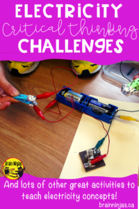 Encourage your students to show you what they have learned about electricity with these six open-ended problem solving challenges for mechanisms that use electricity. It's STEM for your science unit! #projectbasedlearning #differentiatedinstruction