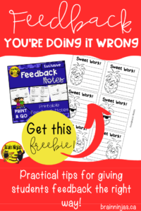 Rethink how you give student feedback with these great tips, examples and activities you can do with your students to help move their learning forward. Sign up for our free Resource Library to get an exclusive set of Feedback Notes. #feedback