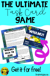 Get your free copy of Whamu! the ultimate task card game by joining our email list AND you'll get unlimited access to our resource library! #taskcards