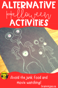 Are you looking for something to do with your students around Halloween that doesn't involve eating junk food and watching movies? Check out this great list and find this very simple art activity too! #halloweenactivities