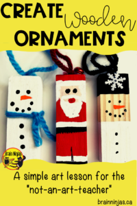 Create these adorable wooden Christmas ornaments using recycled game pieces and a little paint. Step by step instructions and design ideas are included! #merrychristmas