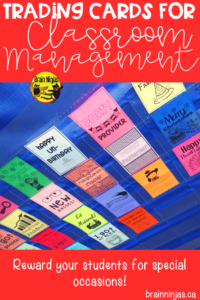 Are you looking for a classroom management system for your upper elementary classroom? Check out these ideas for acknowledging special occasions! #tradingcards #classroommanagement