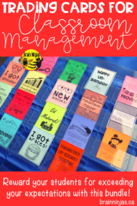 Are you looking for a classroom management system for your upper elementary classroom? Check out these ideas for acknowledging personal victories, academic achievements, special occasions and attendance in this huge bundle with over 100 trading cards! #tradingcards #classroommanagement