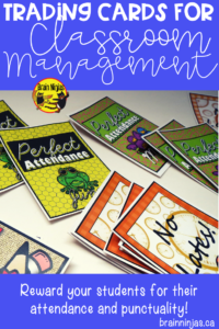 Are you looking for a classroom management system for your upper elementary classroom? Check out these ideas for acknowledging attendance and punctuality! #tradingcards #classroommanagement