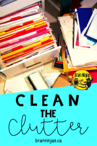 How many boxes of clutter is in your classroom? Check out this list of ways to clear the clutter from your classroom. Get organized and save yourself some time! #springcleaning #classroomorganization
