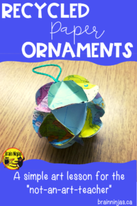 Use up all that paper laying around your classroom and make some great ornaments that make great gifts! #christmascrafts #recycledgifts