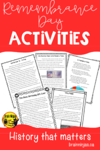 These Remembrance Day activities are perfect for your upper elementary classroom. Learn about Canada's involvement in Vimy Ridge, D-Day and Afghanistan. #lestweforget #remembrancedayactivities