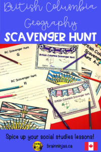 This scavenger hunt focuses on geographical features of BC including locations, lakes, mountains, provincial parks, cities and so much more from all across Beautiful BC. Students are asked to locate information that correlates with a specific letter. For example, if the letter is V, it might say, name a city. The possible answers might be Victoria or Vancouver. Some of the questions only have a specific answer, but many have several. A suggested answer key is included so you won't have to do all the searching yourself.