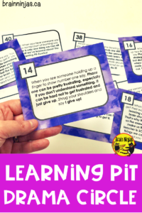 This low-prep drama circle helps encourage a Growth Mindset by teaching your students about The Learning Pit in this engaging and easy to use activity. This is a great task for back to school, having fun and trying out acting skills in a low-risk performance environment. #learningpit #growthmindset #dramacircle