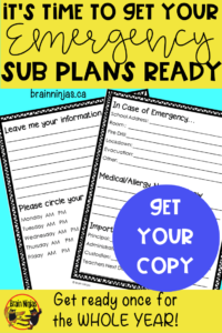 Get a free copy of our sub binder inserts when you sign up for our email list. Better yet, read all about how to get your sub plans organized for the year. #emergencysubplans #substituteteacher