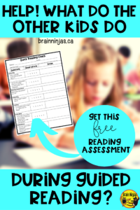 Get this reading quick check to help you figure out what level your students are reading at. It's a great activity to use while your students are learning to work independently. #guidedreading