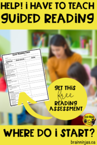Do you have to teach Guided Reading but have no idea where to start? Don't worry. This quick reading assessment can give you a starting point with your reading instruction. Get it for free by clicking here. #guidedreading #readinginstruction #readingactivities
