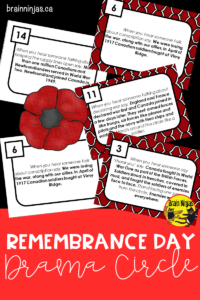 Discuss the importance of Remembrance Day in Canada with this drama circle that is designed for upper elementary students in Canada. #dramacircle #remembranceday