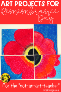 Try one of these five art projects that don't require a ton of time or mess and are perfect for your #remembranceday display or lessons. #remembrancedayart #artlessonsforkids