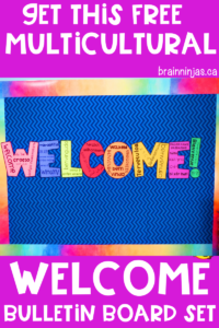 If you want to make all your students feel at home in your classroom regardless of their language, culture, background, colour, then start off the year right with this free welcome bulletin board for your classroom. #backtoschool #welcome #inclusion