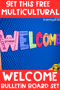 Make all your students feel at home by welcoming them to your classroom with their native language. Get your free copy of this multicultural welcome bulletin board. #backtoschool