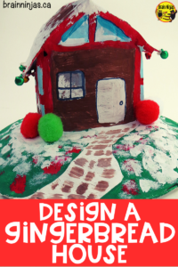 Design a gingerbread house out of math nets and paper. Combine art and math in this engaging activity perfect for the holiday season. #mathlessons #christmasactivities #christmasartprojects