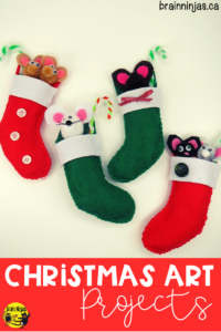Get this great Christmas art project for free on our site. Your students can create these adorable #christmasornaments with the pattern and step by step instructions. Check them out! #artlessons
