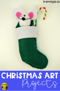 Get this sweet Christmas art project for free on our site. Your students can create these adorable #christmasornaments with the pattern and step by step instructions. Check them out! #artlessons They make great gifts!