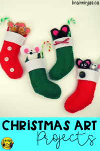 Get this fantastic Christmas art project for free on our site. Your students can create these adorable #christmasornaments with the pattern and step by step instructions. Check them out! #artlessons