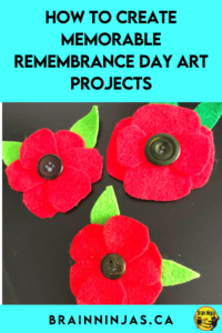 Are you looking for some Remembrance Day art projects that go beyond painting poppies? We've created these projects with our Grade 4 and Grade 5 students. We wanted a variety. You can grab all of these lessons to create the best Remembrance Day display ever. Come take a look at this project that was designed by a student.
